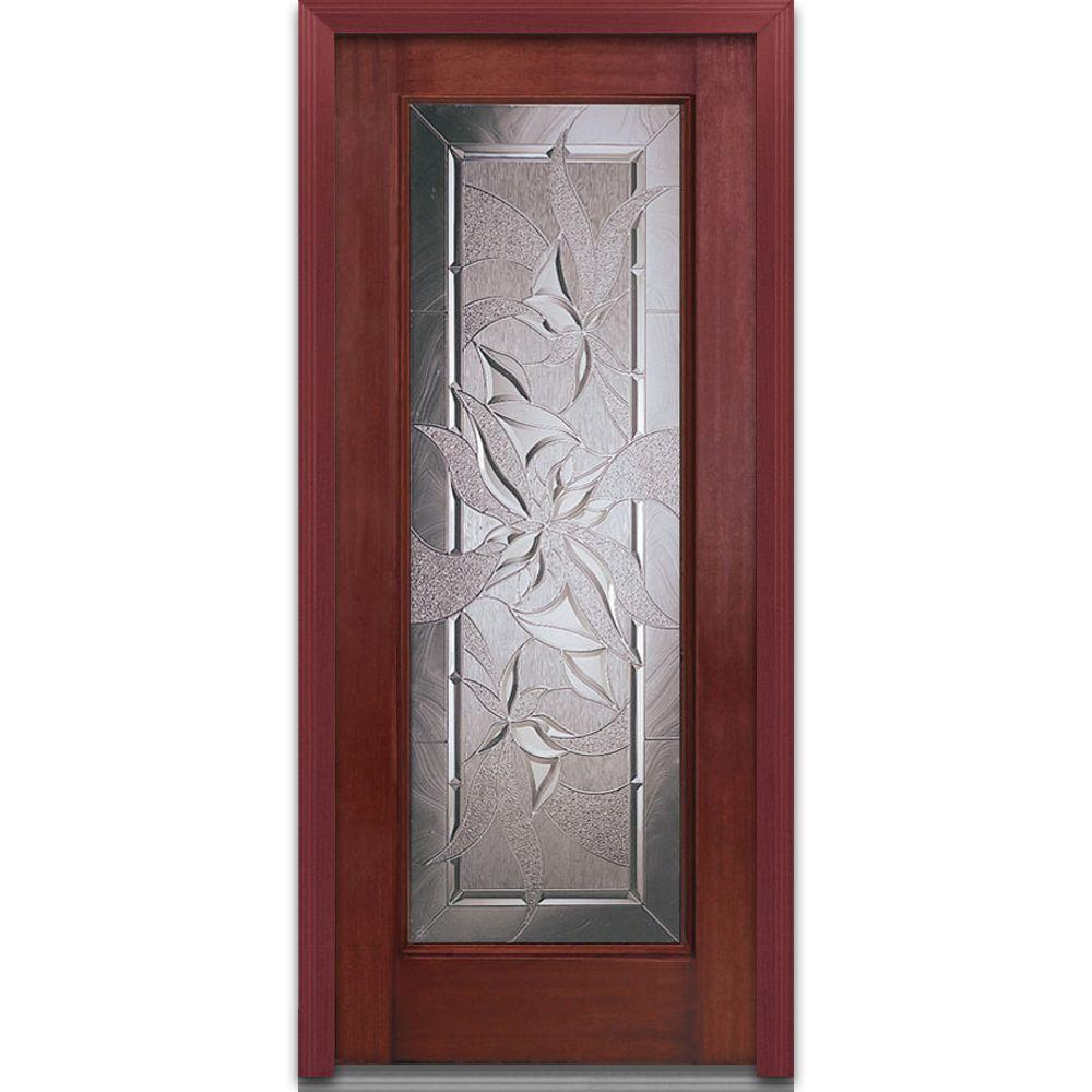 Milliken Millwork 32 in. x 80 in. Lasting Impressions Decorative Glass Full Lite Finished Mahogany Fiberglass Prehung Front Door