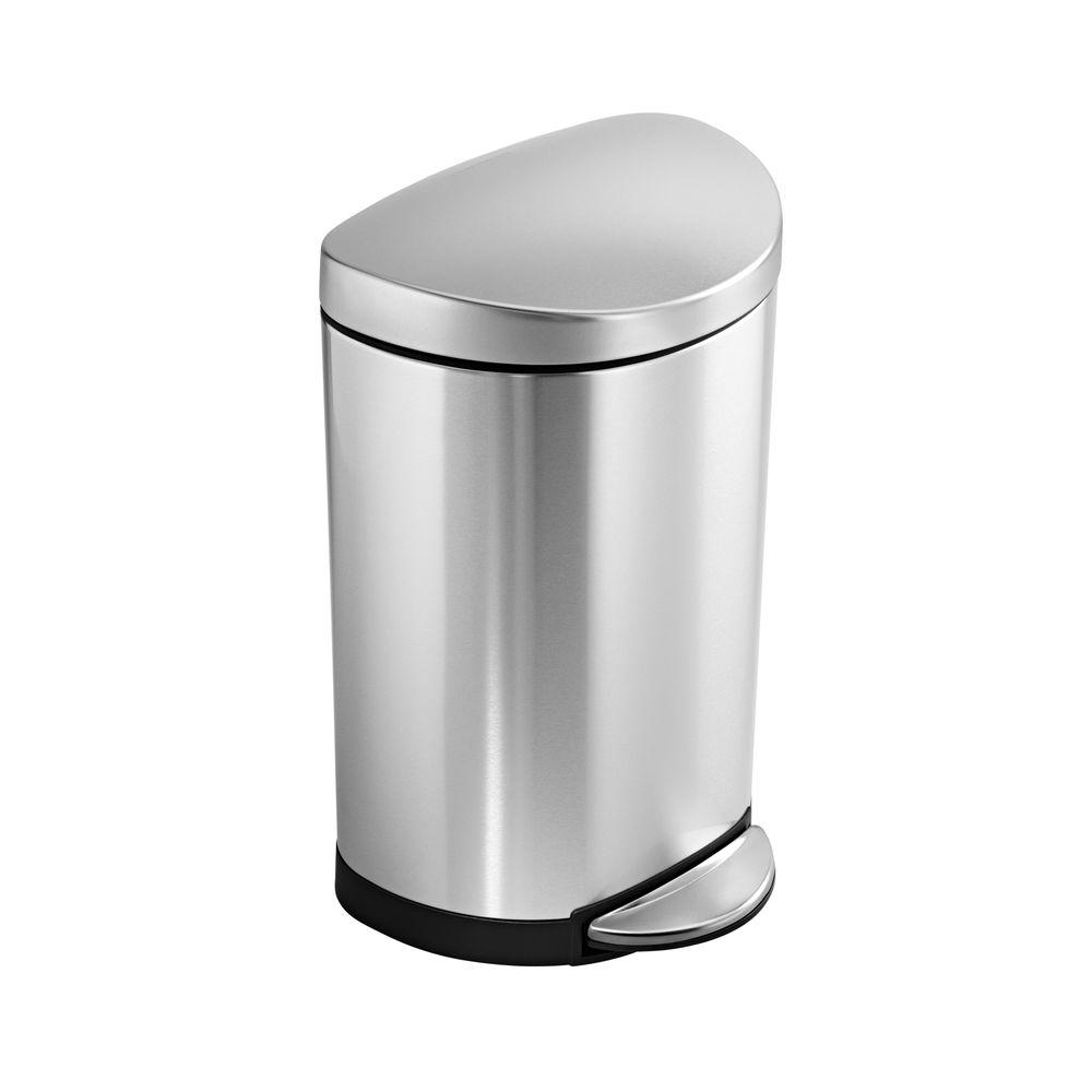 10-Liter Fingerprint-Proof Brushed Stainless Steel Semi-Round Step-On Trash Can