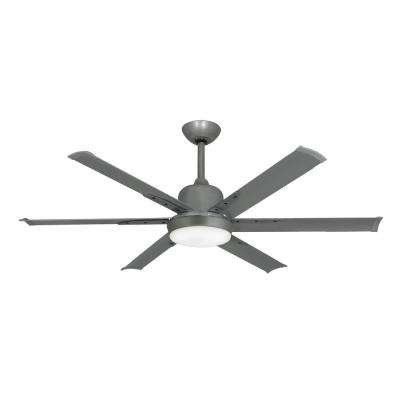 DC-6 52 in. Indoor/Outdoor Brushed Nickel Ceiling Fan with Light