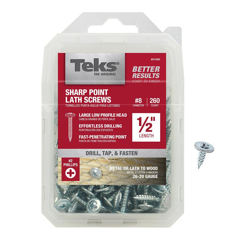 #8 x 1/2 in. Zinc-Plated Steel Phillips Truss-Head Sharp Point Lath Screws (260-Pack)
