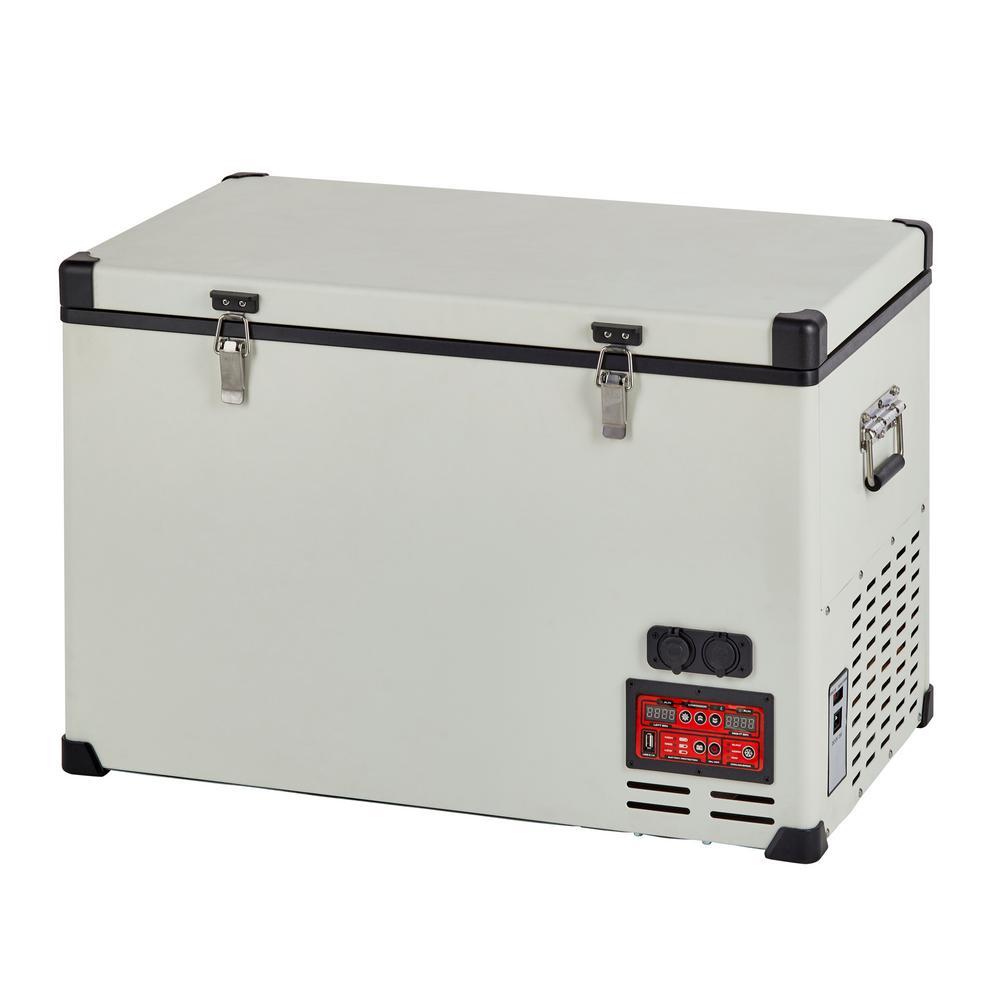 Unique 2 3 cu  ft  65 l Solar 12-Volt/24-Volt DC or 110-Volt AC Portable  Refrigerator-Freezer in White