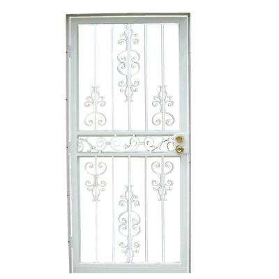 36 in. x 80 in. 409 Series Spanish Lace Steel White Prehung Security Door