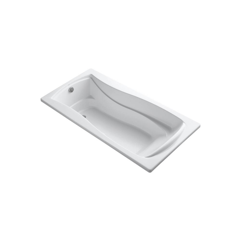KOHLER Mariposa BubbleMassage 6 ft. Acrylic Hourglass Rectangular Drop-in Whirlpool Bathtub in White