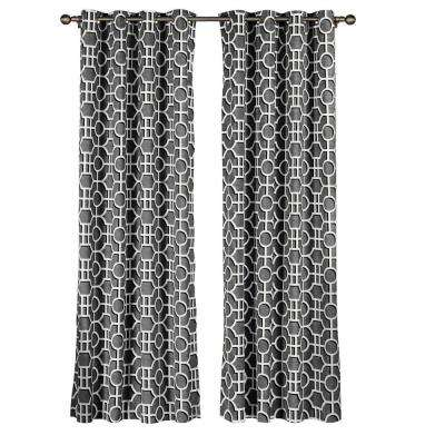 Semi-Opaque Lenox 100% Cotton Extra Wide 96 in. L Grommet Curtain Panel Pair, Charcoal (Set of 2)