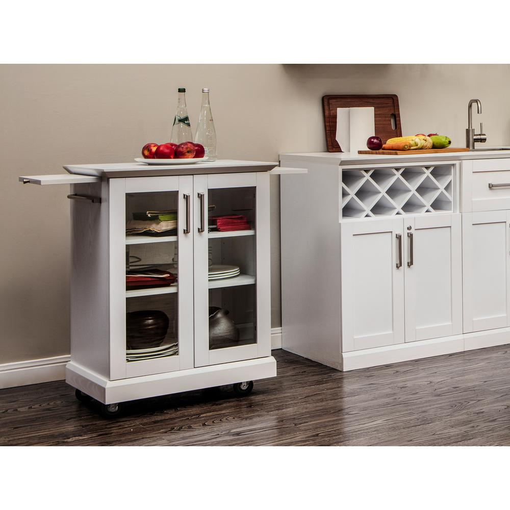 Urban Industrial Age Kitchen Warehouse Cart Island By: Home Styles Woodbridge White Kitchen Island With Seating