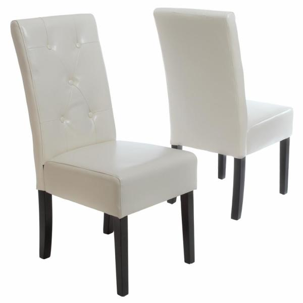Taylor Ivory Bonded Leather Dining Chair (Set of 2)