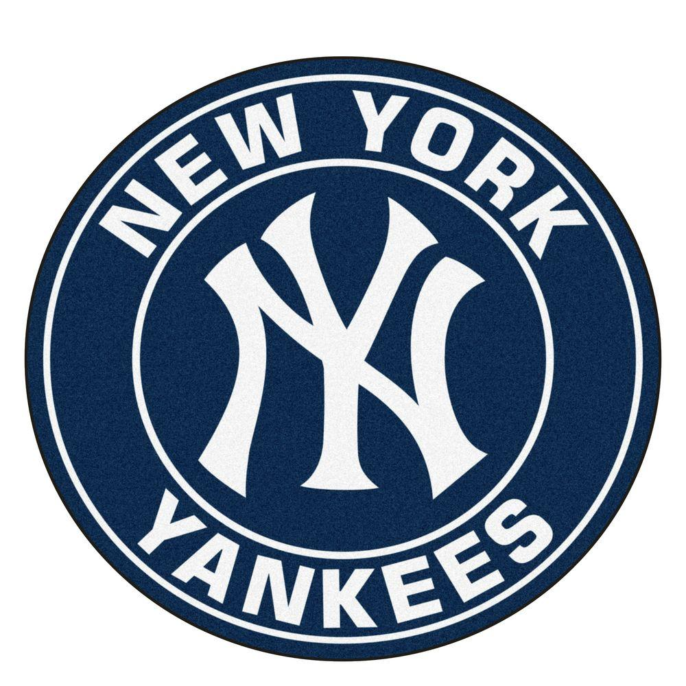 Fanmats Mlb New York Yankees Navy 2 Ft X 2 Ft Round Area Rug 18144