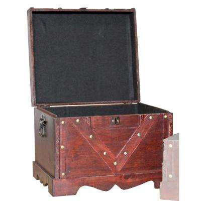 Large Wooden Antique Cherry Storage Trunk