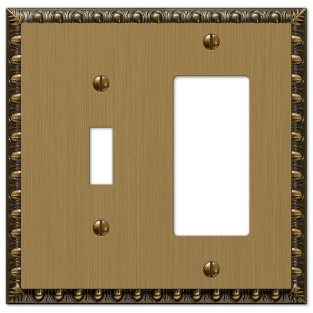 Renaissance 1 Toggle and 1 Decora Wall Plate - Brushed Brass