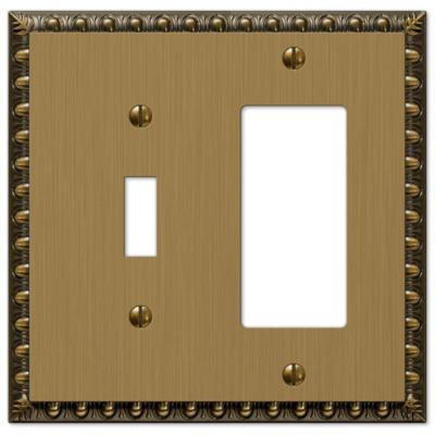 Antiquity 2 Gang 1-Toggle and 1-Rocker Metal Wall Plate - Brushed Brass