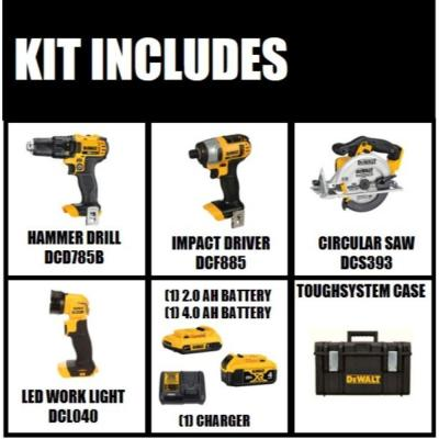 20-Volt MAX Lithium-Ion Cordless Combo Kit (4-Tool), 2Ah Battery, 4Ah Battery, Charger, with Tough System Case