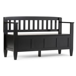 Brooklyn Solid Wood 48 in. Wide Contemporary Entryway Storage Bench in Black