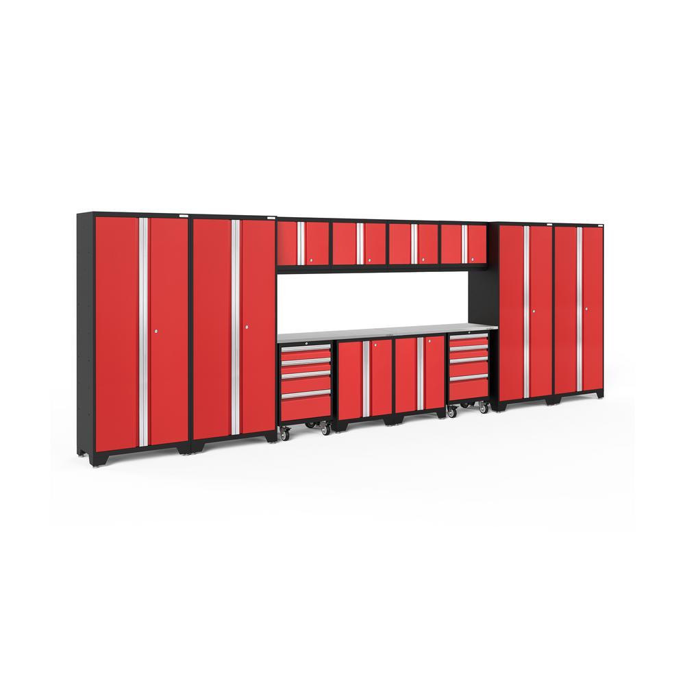 Bold 3.0 216 in. W x 75.25 in. H x 18 in. D 24-Gauge Welded Steel Stainless Steel Worktop Cabinet Set in Red (14-Piece)