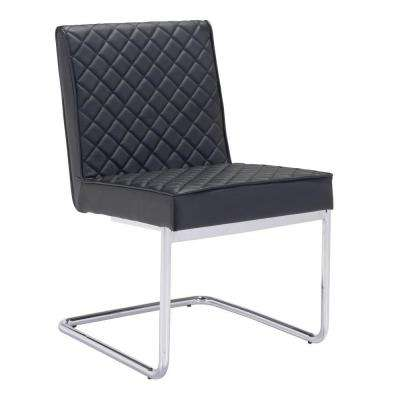 Quilt Black Leatherette Dining Chair