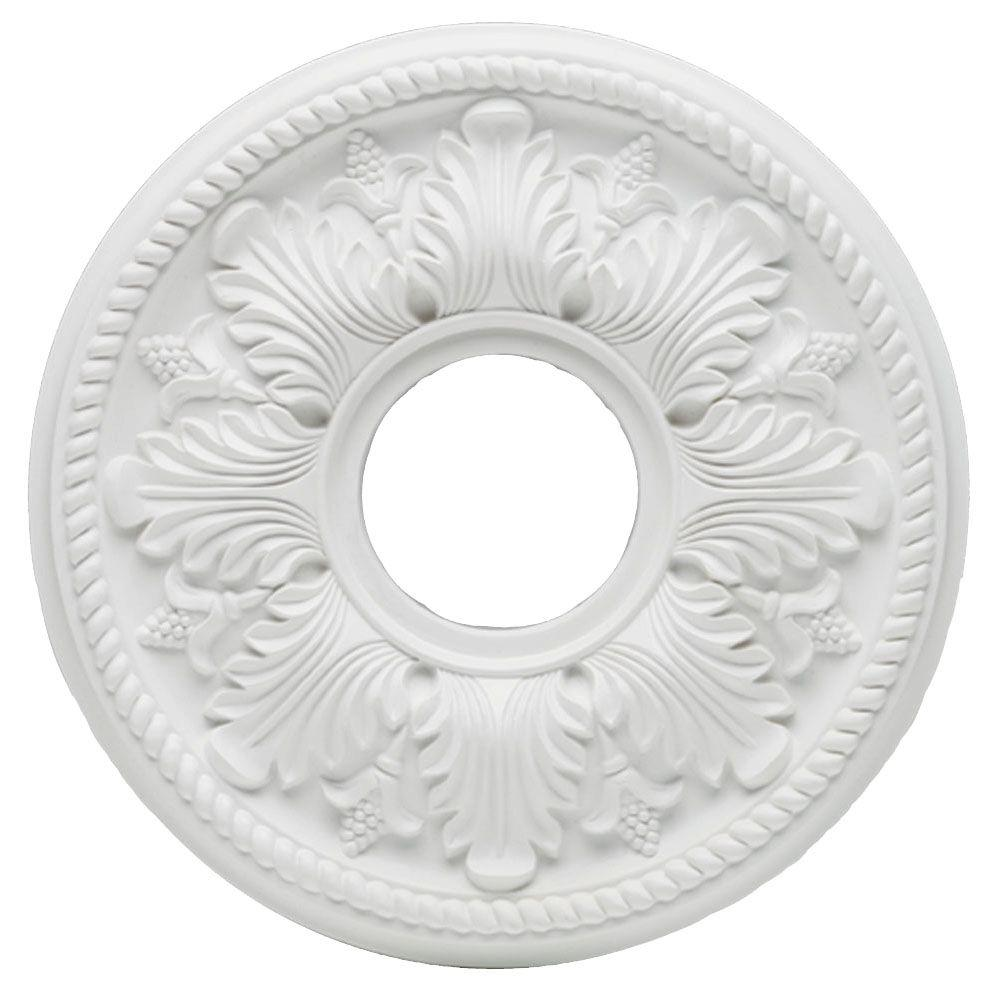 Hampton Bay 14 In White Bellezza Ceiling Medallion 82265 The Home Depot