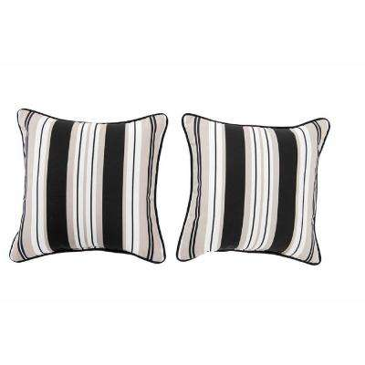 Lancaster Stripe Alabaster Square Outdoor Throw Pillow (2-Pack)