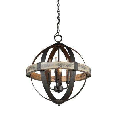 4-Light Distressed Wood and Black Chandelier