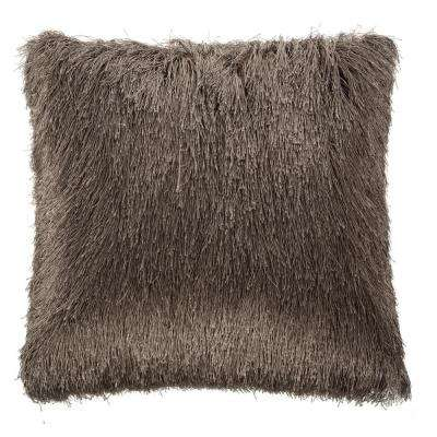 Soleil Shag 20 in. x 20 in. Taupe Square Outdoor Throw Pillow