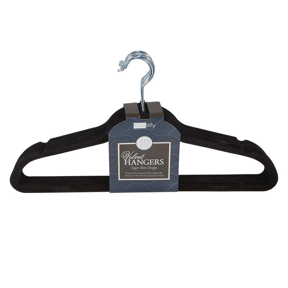 Super Slim Black Velvet Huggable Hanger (10-Pack)