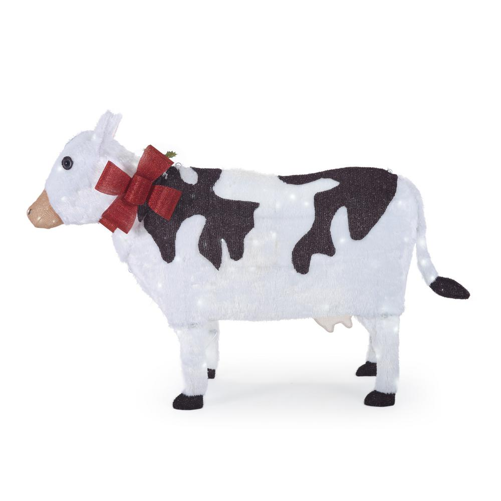 Home Accents Holiday 55 in. W Christmas Cow Yard Decoration with LED Lights