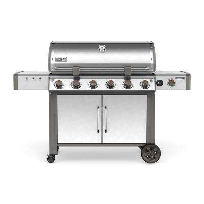 Genesis II LX S-640 6-Burner Natural Gas Grill in Stainless Steel with Built-In Thermometer and Grill Light