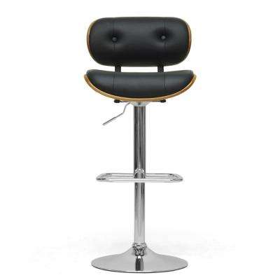Leona Brown Wood and Black Faux Leather Adjustable Bar Stool