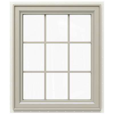 29.5 in. x 35.5 in. V-4500 Series Right-Hand Casement Vinyl Window with Grids - Tan