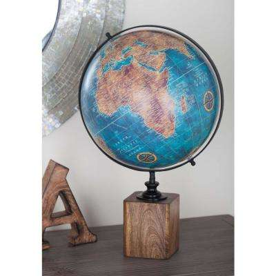 20 in. x 14 in. Modern Decorative Globe in Blue and Brown