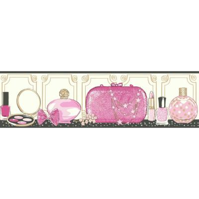 Glitz and Glam Removable Wallpaper Border pinks, white, gold, black Wallpaper Border