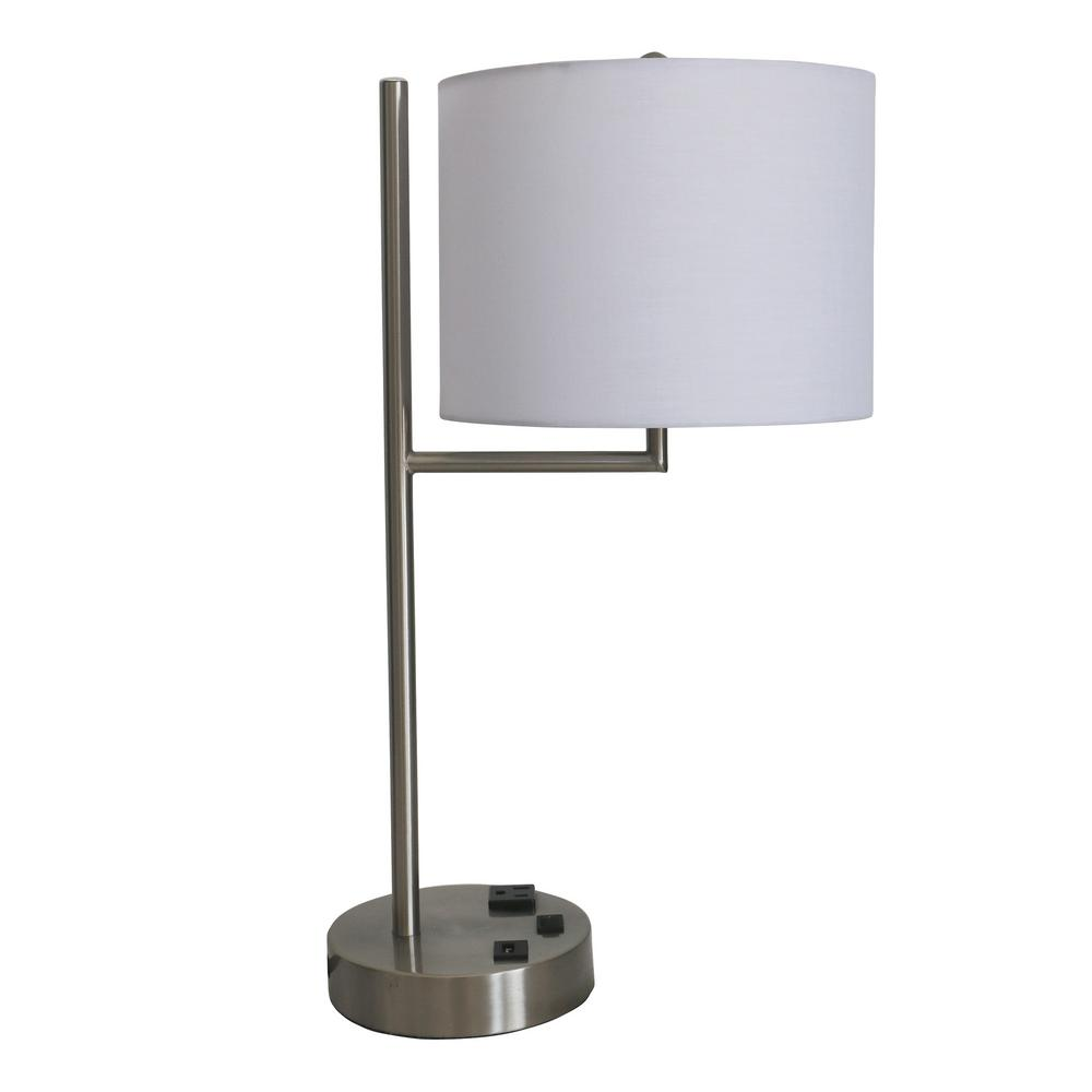 Tech Friendly Metal Brushed Nickel Finish Table Lamp With 1