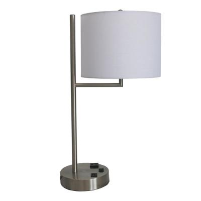 20 in. Tech-Friendly Metal Brushed Nickel Finish Table Lamp with 1-Outlet and 1 USB Port in base