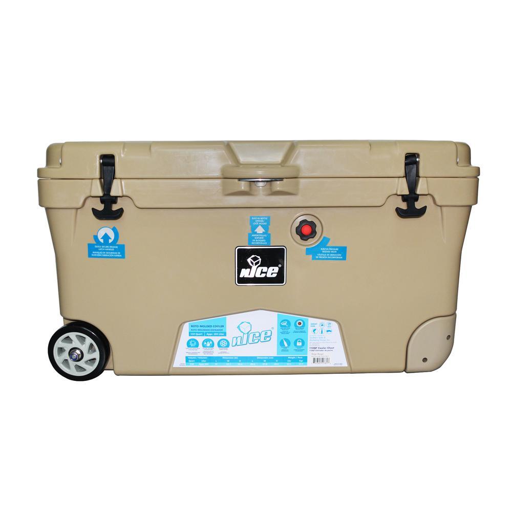 110 qt. Beige Wheeled Cooler