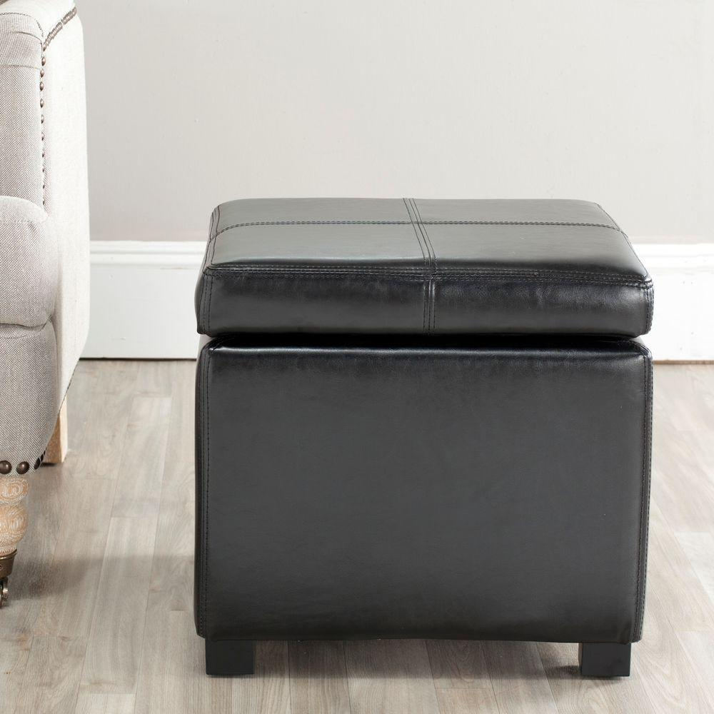 Madison Black Storage Ottoman