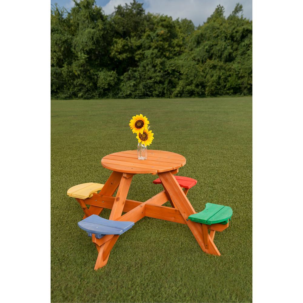 Astounding Creative Cedar Designs Kids Multicolor Round Wooden Picnic Table With 4 Seats Beatyapartments Chair Design Images Beatyapartmentscom