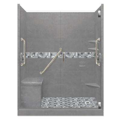 Newport Freedom Grand Hinged 32 in. x 60 in. x 80 in. Right Drain Alcove Shower Kit in Wet Cement and Satin Nickel