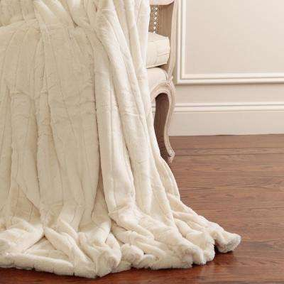 Luxe Faux Mink Fur 84 in. L Cream Throw
