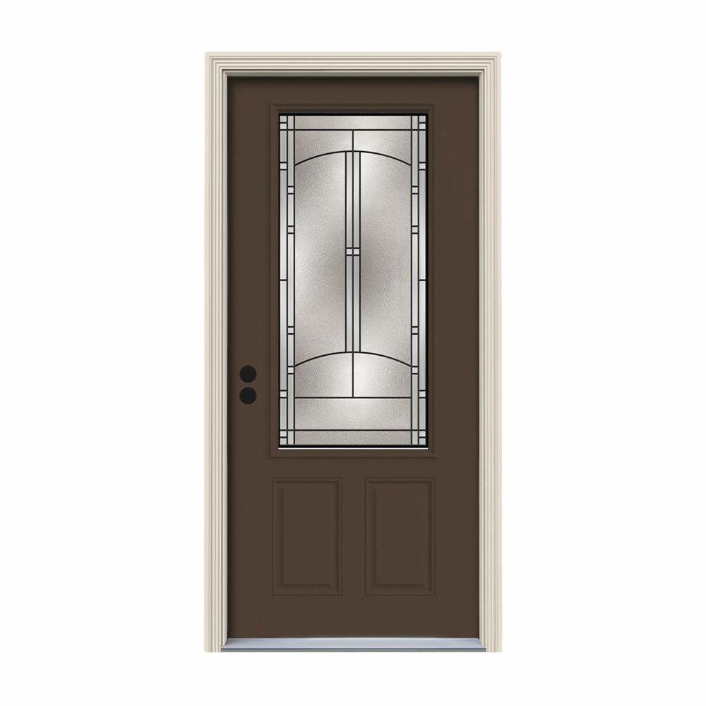 32 in. x 80 in. 3/4 Lite Idlewild Dark Chocolate Painted Steel Prehung Right-Hand Inswing Front Door w/Brickmould