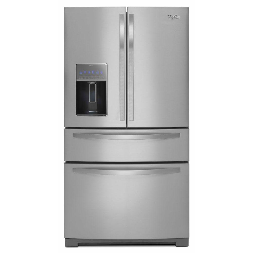 Whirlpool 36 in. W 26.2 cu. ft. French Door Refrigerator in Monochromatic Stainless Steel