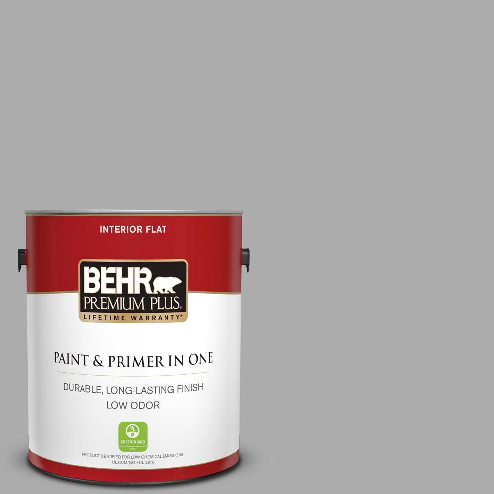 BEHR Premium Plus 1 gal. #N520-3 Flannel Gray Flat Low Odor Interior Paint and Primer in One