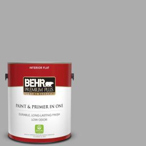 1 gal. #N520-3 Flannel Gray Flat Low Odor Interior Paint and Primer in One