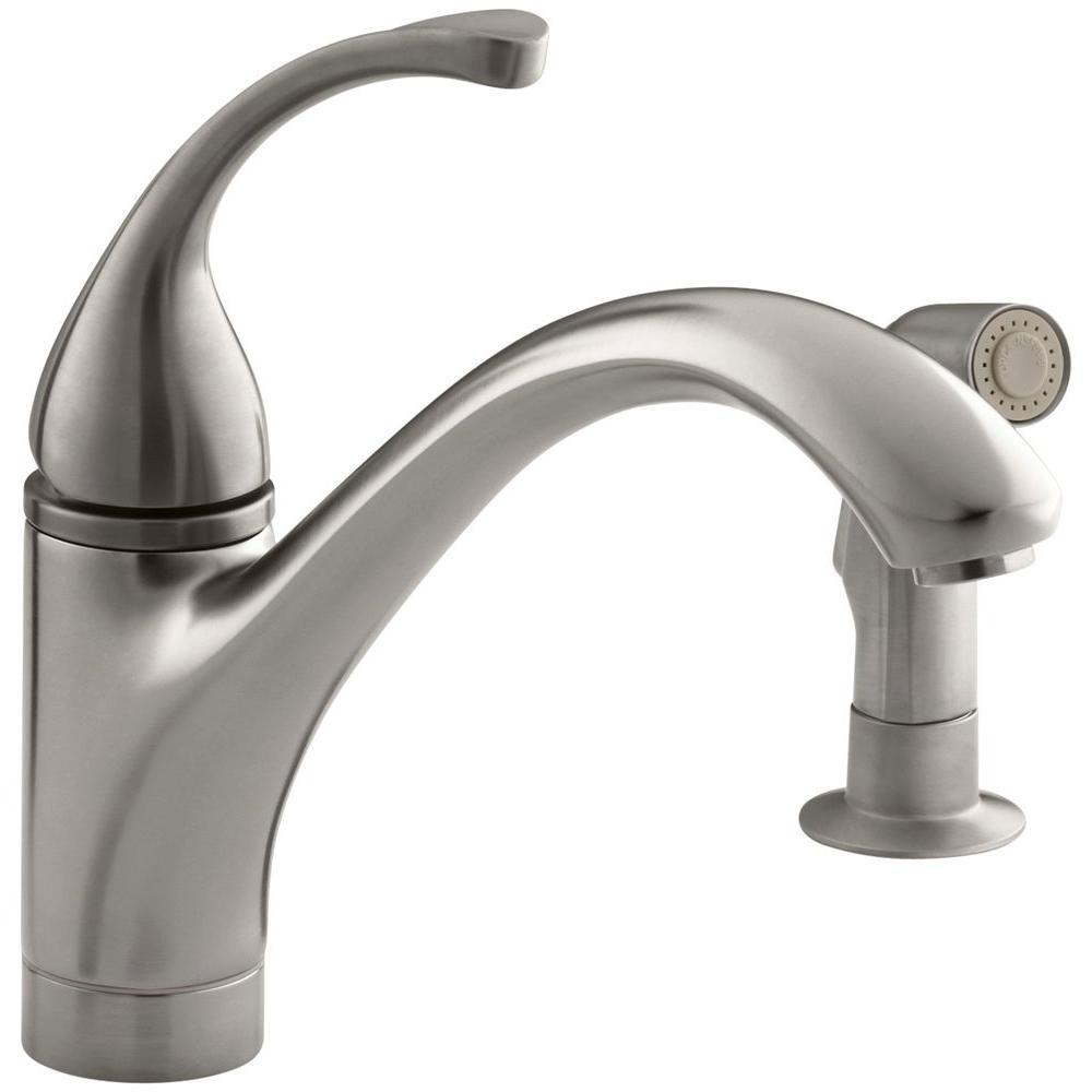 Kohler Forte Single Handle Standard Kitchen Faucet With Side Sprayer In Vibrant Stainless K 10416 Vs The Home Depot