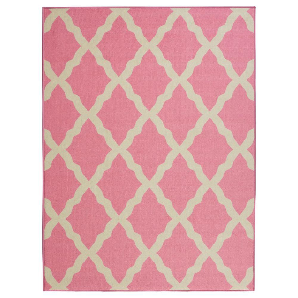 Ottomanson Glamour Collection Contemporary Moroccan Trellis Design Pink 5 ft. x 6 ft. 6 in. Area Rug