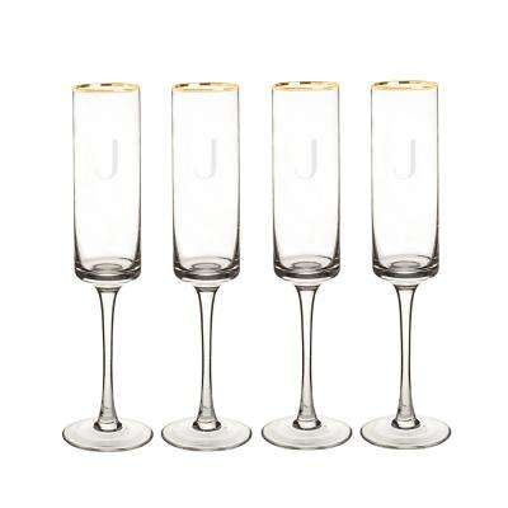 Personalized Gold Rim Contemporary Champagne Flutes - J
