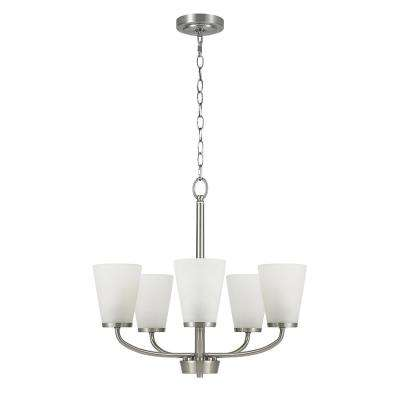 5-Light Brushed Nickel Chandelier with Etched Glass Shades