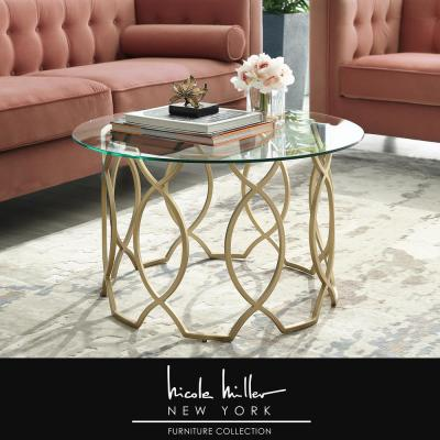 Catalina Gold Coffee Table with Glass Top
