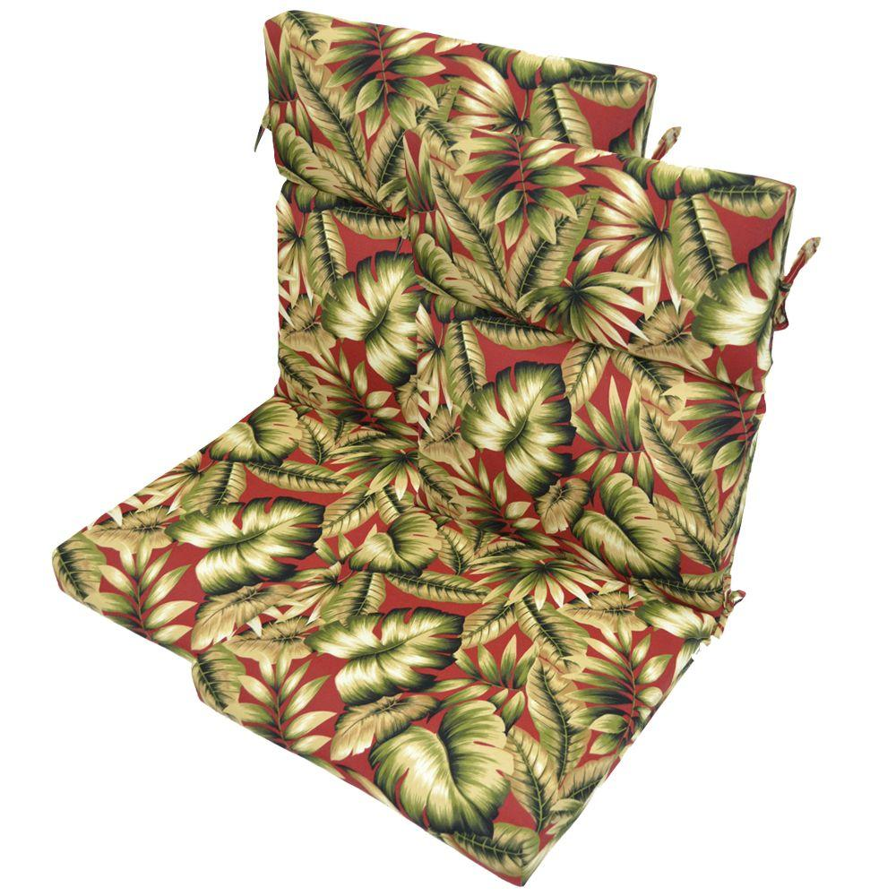 Plantation Patterns Chili Leaves High Back Outdoor Chair Cushion (2-Pack)-DISCONTINUED