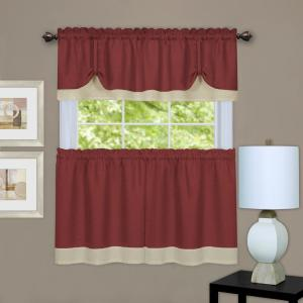 Achim Darcy Marsala/Tan Polyester Tier and Valance Curtain Set 58 inch W x 24 inch L by Achim