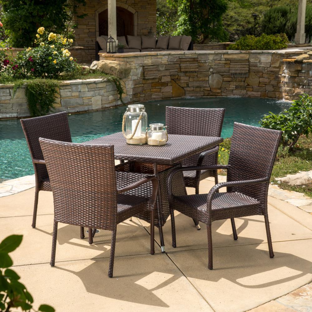 Wesley Multi-Brown 5-Piece Wicker Outdoor Dining Set
