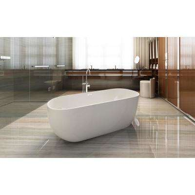 Akimoto 59 in. Acrylic Flatbottom Non-Whirlpool Bathtub with Oval in White