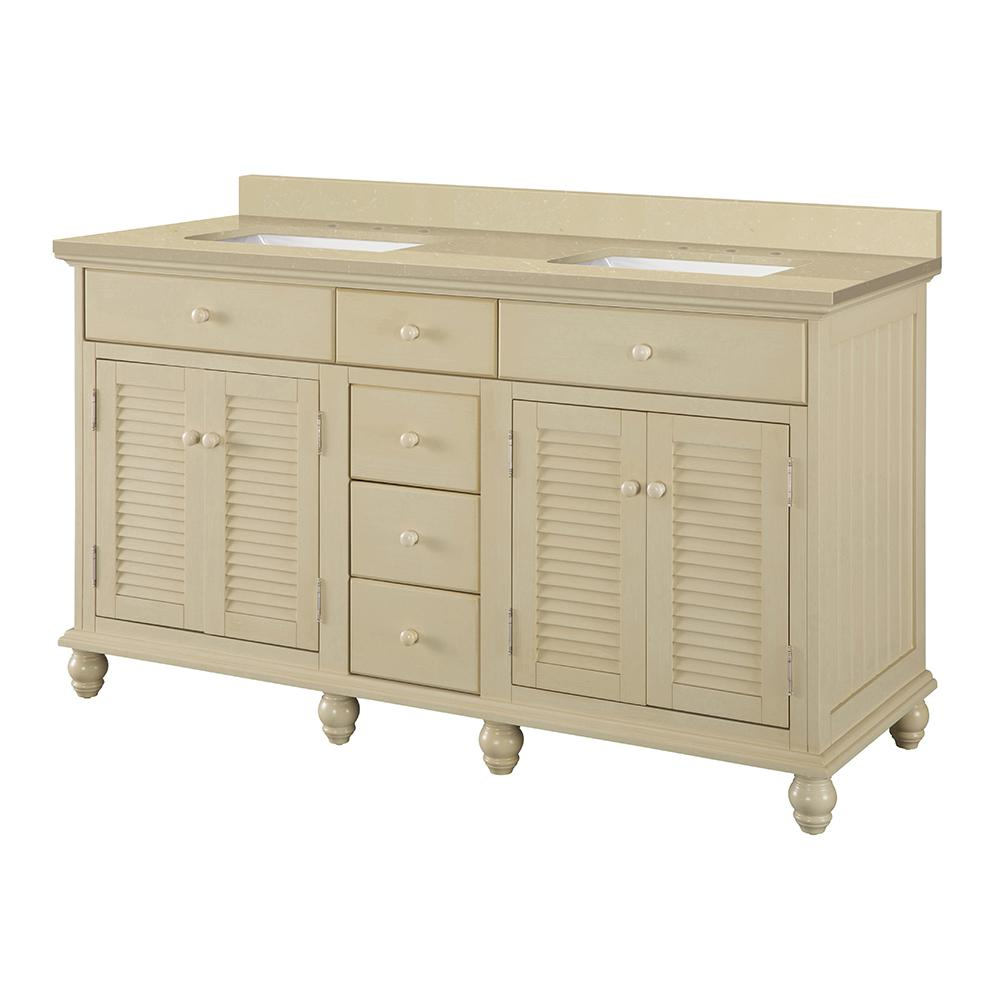 Home Decorators Collection Cottage 61 in. W x 22 in. D Vanity in Antique White with Engineered Marble Vanity Top in Crema Limestone with Sink